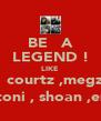 BE   A LEGEND ! LIKE   courtz ,megz   toni , shoan ,em - Personalised Poster A4 size