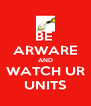 BE  ARWARE AND WATCH UR UNITS - Personalised Poster A4 size