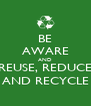 BE AWARE AND REUSE, REDUCE AND RECYCLE - Personalised Poster A4 size
