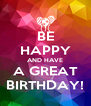 BE HAPPY AND HAVE A GREAT BIRTHDAY! - Personalised Poster A4 size