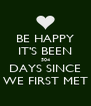 BE HAPPY IT'S BEEN 504 DAYS SINCE WE FIRST MET - Personalised Poster A4 size