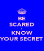 BE SCARED I KNOW YOUR SECRET - Personalised Poster A4 size