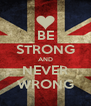 BE STRONG AND NEVER WRONG - Personalised Poster A4 size