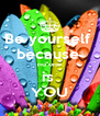 Be yourself  because  no one is  YOU - Personalised Poster A4 size