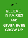 BELIEVE  IN FAIRIES AND NEVER EVER GROW UP - Personalised Poster A4 size