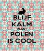 BLIJF KALM WANT POLEN IS COOL - Personalised Poster A4 size