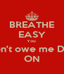 BREATHE EASY You  Don't owe me Doe ON - Personalised Poster A4 size