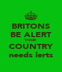 BRITONS BE ALERT YOUR COUNTRY needs lerts - Personalised Poster A4 size