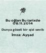 Bu oğlan Bu tarixde 08.11.2014 Dunya gözeli bir qizi sevib İmza: Ayşad  - Personalised Poster A4 size