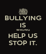 BULLYING IS WRONG HELP US STOP IT. - Personalised Poster A4 size