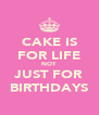 CAKE IS FOR LIFE NOT JUST FOR BIRTHDAYS - Personalised Poster A4 size