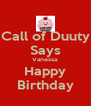 Call of Duuty Says Vanessa Happy Birthday - Personalised Poster A4 size