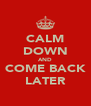 CALM DOWN AND COME BACK LATER - Personalised Poster A4 size