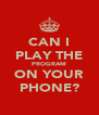CAN I PLAY THE PROGRAM ON YOUR PHONE? - Personalised Poster A4 size