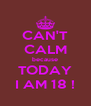 CAN'T CALM because TODAY I AM 18 ! - Personalised Poster A4 size