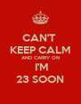 CAN'T  KEEP CALM AND CARRY ON  I'M 23 SOON - Personalised Poster A4 size
