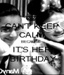 CAN'T KEEP CALM BECAUSE  IT'S HER   BIRTHDAY  - Personalised Poster A4 size