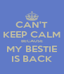 CAN'T KEEP CALM BECAUSE MY BESTIE IS BACK - Personalised Poster A4 size