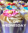 CAN'T KEEP CALM MY BIRTHDAY IS ON  WEDNESDAY - Personalised Poster A4 size