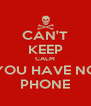 CAN'T KEEP CALM YOU HAVE NO PHONE - Personalised Poster A4 size