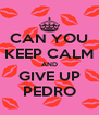 CAN YOU KEEP CALM AND GIVE UP PEDRO - Personalised Poster A4 size