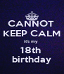 CANNOT  KEEP CALM it's my  18th  birthday - Personalised Poster A4 size