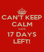 CAN'T KEEP CALM COS 17 DAYS LEFT! - Personalised Poster A4 size