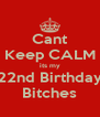 Cant Keep CALM its my 22nd Birthday Bitches - Personalised Poster A4 size