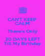 CAN'T KEEP  CALM There's Only 20 DAYS LEFT Till My Birthday - Personalised Poster A4 size