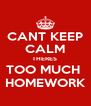 CANT KEEP CALM THERES  TOO MUCH  HOMEWORK - Personalised Poster A4 size