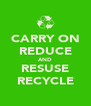 CARRY ON REDUCE AND RESUSE RECYCLE - Personalised Poster A4 size