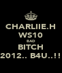 CHARLIIE.H WS10 BAD BITCH 2012.. B4U..!! - Personalised Poster A4 size