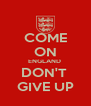 COME ON ENGLAND  DON'T  GIVE UP - Personalised Poster A4 size