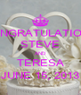 CONGRATULATIONS STEVE AND TERESA JUNE 15, 2013 - Personalised Poster A4 size