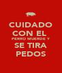 CUIDADO CON EL  PERRO MUERDE Y SE TIRA PEDOS - Personalised Poster A4 size