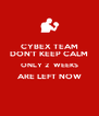 CYBEX TEAM DON'T KEEP CALM ONLY 2  WEEKS ARE LEFT NOW  - Personalised Poster A4 size