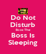Do Not Disturb Bcoz The Boss Is Sleeping - Personalised Poster A4 size