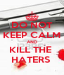 DO NOT KEEP CALM AND KILL THE  HATERS  - Personalised Poster A4 size