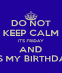 DO NOT KEEP CALM IT'S FRIDAY AND IT'S MY BIRTHDAY - Personalised Poster A4 size