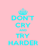DON'T CRY AND TRY HARDER - Personalised Poster A4 size
