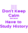 Don't Keep Calm Because Have to  Study History - Personalised Poster A4 size