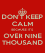 DON'T KEEP CALM BECAUSE IT'S OVER NINE THOUSAND - Personalised Poster A4 size