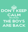 DON'T KEEP CALM BECAUSE THE BOYS ARE BACK - Personalised Poster A4 size