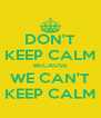 DON'T KEEP CALM BECAUSE WE CAN'T KEEP CALM - Personalised Poster A4 size
