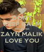 DON'T KEEP CALM BECAUSE ZAYN MALIK LOVE YOU - Personalised Poster A4 size