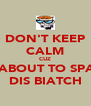 DON'T KEEP CALM CUZ I'M ABOUT TO SPANK DIS BIATCH - Personalised Poster A4 size