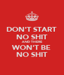 DON'T START NO SHIT AND THERE WON'T BE NO SHIT - Personalised Poster A4 size