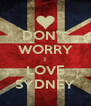 DON'T WORRY I LOVE SYDNEY - Personalised Poster A4 size