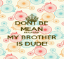DONT BE MEAN BECAUSE MY BROTHER IS DUDE! - Personalised Poster A4 size