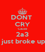 DONT  CRY Cauze 2a3  just broke up - Personalised Poster A4 size